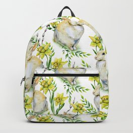 Spring yellow green watercolor daffodil rabbit pattern Backpack