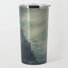 on the top of a cliff Travel Mug