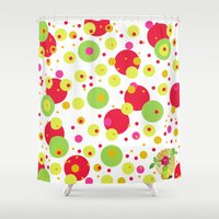 happy birthday Shower Curtains featuring Happy Birthday by Iribú