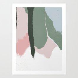 Sage Green & Blush Pink Abstract Paint Brush Strokes Art Print