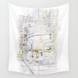 The reflection of a big city Wall Tapestry