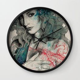SGNL>05 (seminude street art portrait, topless lady with swan tattoo) Wall Clock