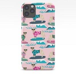 Golden Retriever Surfing - pink surfing, hibiscus, girly,  summer, beach, dog surfing, dog surf, hawaii, hawaiian, summer, cute iPhone Case