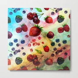 Summer fruits- Fresh strawberry berry pastel pattern Metal Print