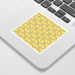 Retro Mid-Century Saucer Pattern in Yellow, Gray, Cream Sticker