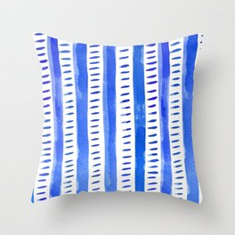 Watercolor lines - blue Throw Pillow