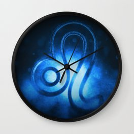 Leo zodiac sign, night sky, Horoscope Astrology background, Leo horoscope symbol, blue horoscope Wall Clock
