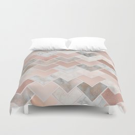 Rose Gold and Marble Geometric Tiles Duvet Cover