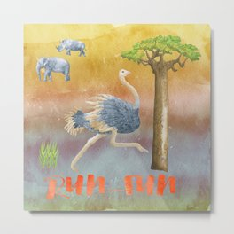 Run Fun - Ostrich Bird Animal Africa  Illustration Metal Print
