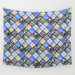 Faux Patchwork Quilting - Blues Wall Tapestry