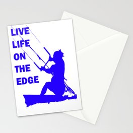 Live Life On The Edge Neon Blue Kitebeach Stationery Cards