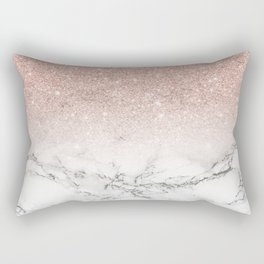 Modern faux rose pink glitter ombre white marble Rectangular Pillow