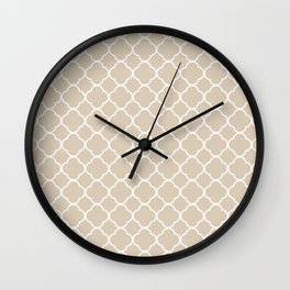 Clover Quatrefoil Pattern: Beige Wall Clock