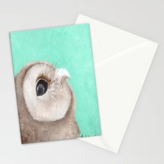 Original Owl Painting Print Aqua Blue Owl Art Owl print Cute Owl art One of a kind Unique Stationery Cards