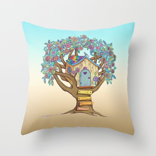 Live Simply, Love Trees Throw Pillow