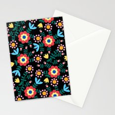 Folk Floral (Black) Stationery Cards