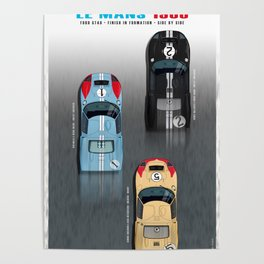 GT40 Le Mans 1966, Finish side by side Poster