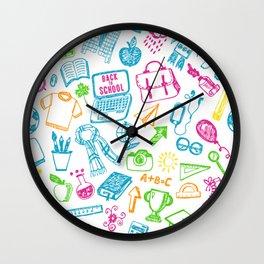 Back to school pattern Wall Clock