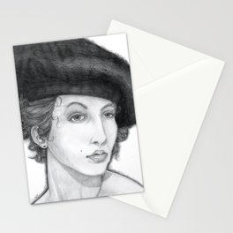 Woman Wearing Beret Stationery Cards