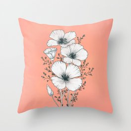 windflowers at dusk / botanical line drawing Throw Pillow