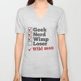 Nerd Geek Wild Man Unisex V-Neck