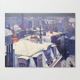 """Gustave Caillebotte """"Vue de toits (Effet de neige) - View of roofs (Snow effect)"""" Canvas Print"""