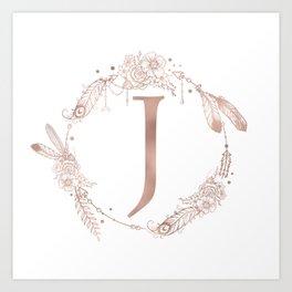 Letter J Rose Gold Pink Initial Monogram Art Print
