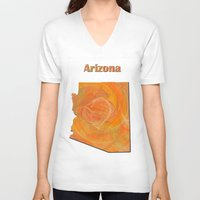 arizona V-neck T-shirts featuring Arizona Map by Roger Wedegis