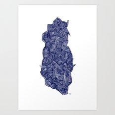 - blue lines - Art Print
