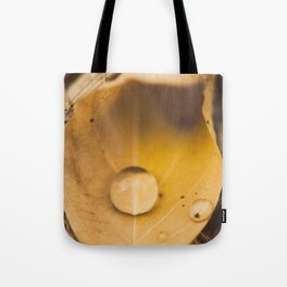 Yellow drop on a leaf Tote Bag