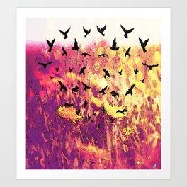 Dandelions and Crows Art Print