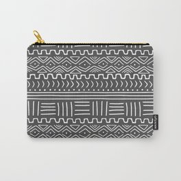 Mud Cloth on Gray Carry-All Pouch