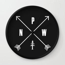 PNW Pacific Northwest Compass - White on Black Minimal Wall Clock