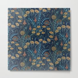 Dolce Donum Blue Floral by Walter Crane Metal Print