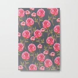 Pink Peonies On Grey Background Metal Print