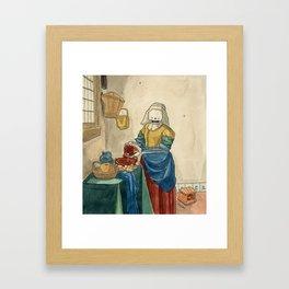 The Milkmaid - Johannes Vermeer, ca. 1660 Framed Art Print