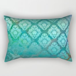 """Turquoise Ocean Damask Pattern"" Rectangular Pillow"