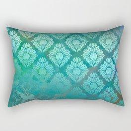 """""""Turquoise Ocean Damask Pattern"""" Rectangular Pillow"""