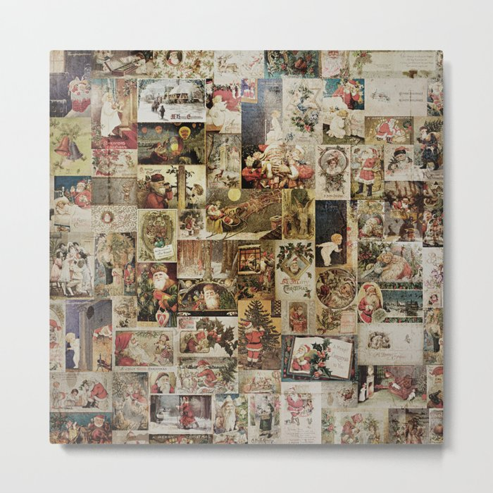 Merry Christmas- Santa angels & friends- collage Metal Print