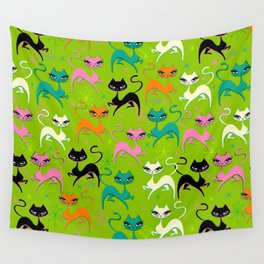 Prancing Kittens on Lime Wall Tapestry