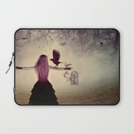 Dark foggy scene with witch woman with crows Laptop Sleeve