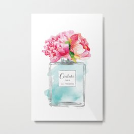 Perfume, watercolor, perfume bottle, with flowers, Teal, Silver, peonies, Fashion illustration Metal Print
