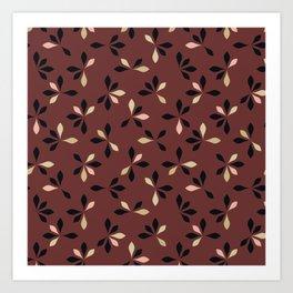 loves me loves me not pattern - oxblood Art Print