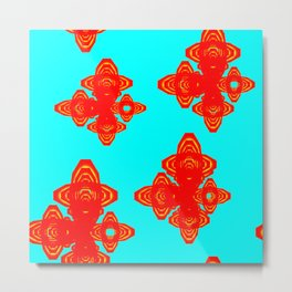 Retro Red Decorative Shapes on Turq Background Metal Print