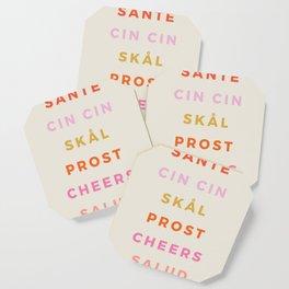 """""""CHEERS!"""" Around The World Type Print Coaster"""