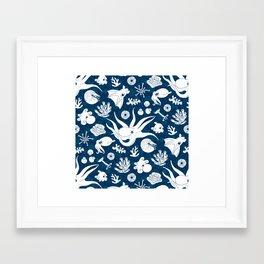 Cephalopods: Background Blue Framed Art Print