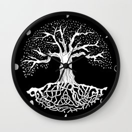 black and white tree of life with moon phases and celtic trinity knot Wall Clock