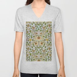William Morris Narcissus, Daffodil, Calla Lily Textile Floral Print Unisex V-Neck