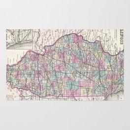 Vintage Map of Illinois (1855) Rug