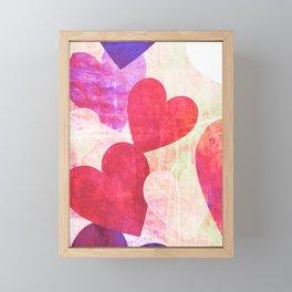 Fab Pink & Purple Grungy Hearts Design Framed Mini Art Print